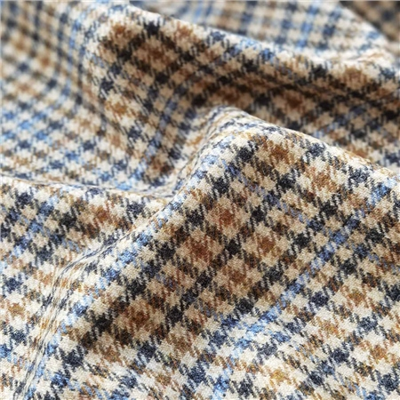 Rockall - Beige & Blue Gingham Check Donegal Tweed  - Click to view a larger image