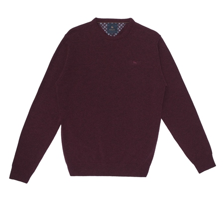 Maroon Mullans Lambswool Crew Neck Jumper  - Click to view a larger image