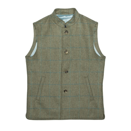 Green Cavan Donegal Tweed Check Gilet  - Click to view a larger image