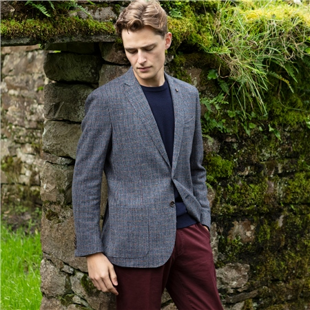 Blue Check Easky Donegal Tweed Jacket  - Click to view a larger image