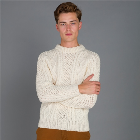 White Báinín Aran Handknit Sweater  - Click to view a larger image