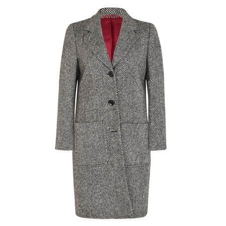 Black & White Herringbone Emma Donegal Tweed Coat  - Click to view a larger image