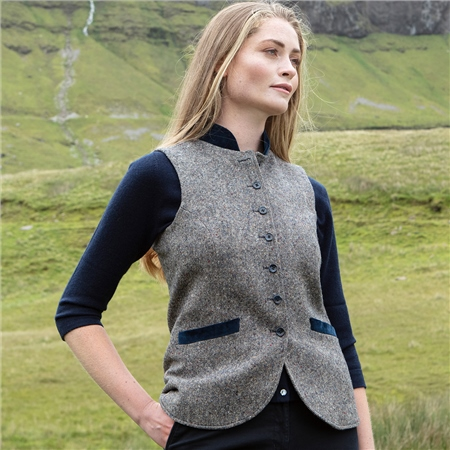 Navy Salt & Pepper Georgie Donegal Tweed Waistcoat  - Click to view a larger image