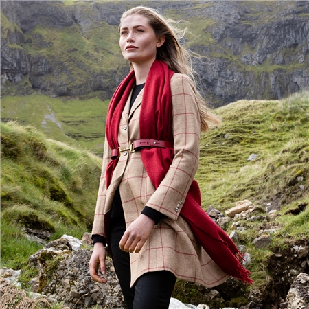 Camel & Red Checked Grace Donegal Tweed Coat  - Click to view a larger image