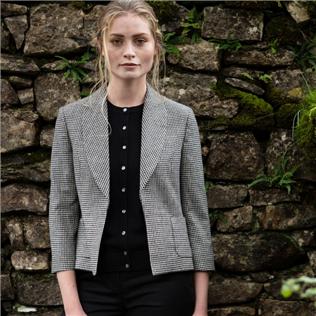Black & White Sadie Houndstooth Donegal Tweed Jacket  - Click to view a larger image