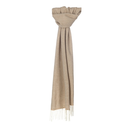 White & Vicuna Herringbone Scarf  - Click to view a larger image
