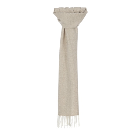 White & Camel Herringbone Scarf  - Click to view a larger image