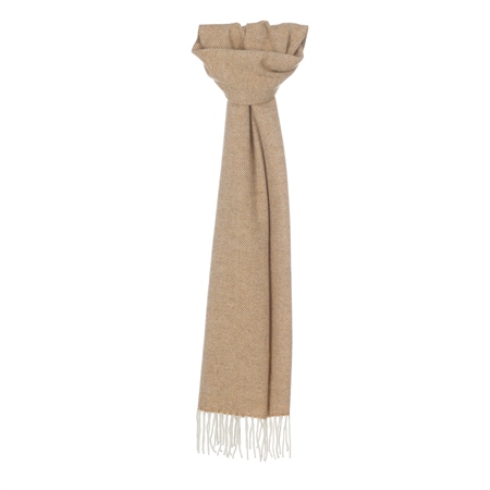 White & Mustard Herringbone Scarf  - Click to view a larger image