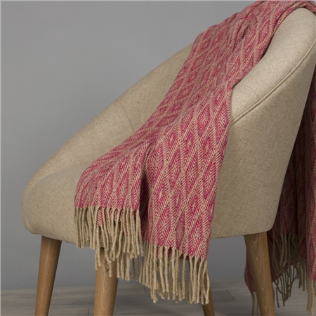 Camel & Bright Pink Wigwam Throw  - Click to view a larger image