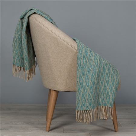 Camel & Dark Turquoise Wigwam Throw  - Click to view a larger image