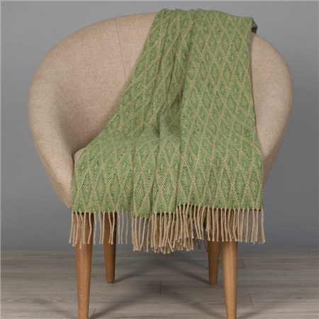 Camel & Bright Green Wigwam Throw  - Click to view a larger image
