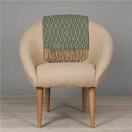 Camel & Dark Green Wigwam Throw  - Click to view a larger image