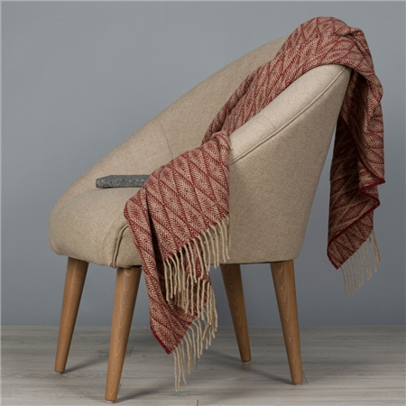 Camel & Dark Red Wigwam Throw  - Click to view a larger image