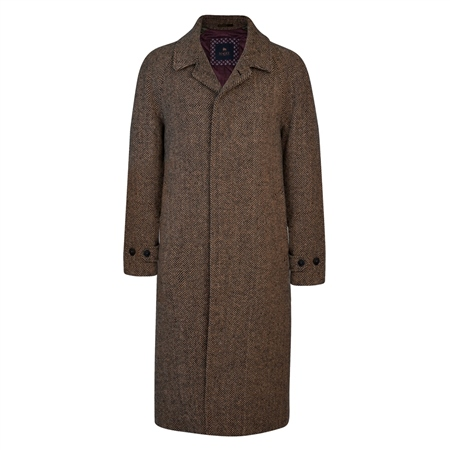 Brown/Navy Donegal Tweed Corrib Quilted Raglan Coat  - Click to view a larger image