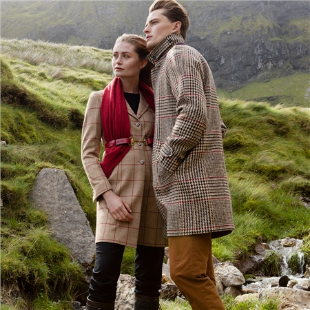 Oat/Red Glen Check Tweed Erne Coat  - Click to view a larger image