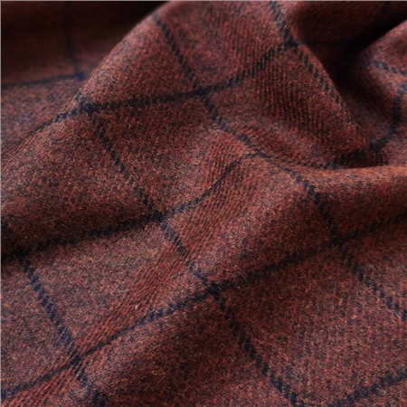 Rockall - Rust Windowpane Check Donegal Tweed  - Click to view a larger image