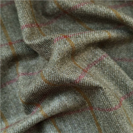 Rockall - Green Coloured Check Donegal Tweed  - Click to view a larger image