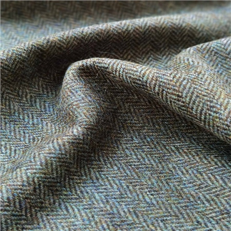 Rockall - Green and Brown Herringbone Donegal Tweed  - Click to view a larger image