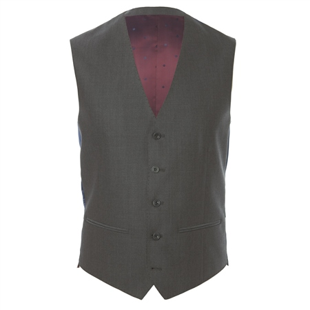 Grey Mix & Match 3-Piece Tailored Fit Suit Waistcoat  - Click to view a larger image