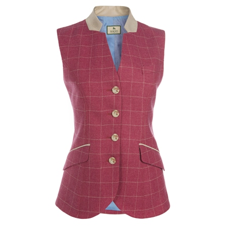 Pink Check Wool Blend Waistcoat   - Click to view a larger image