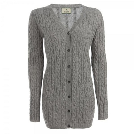 Grey Cashmere Wool Boyfriend Cardigan   - Click to view a larger image