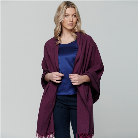Raspberry & Purple Large Pashmina   - Click to view a larger image