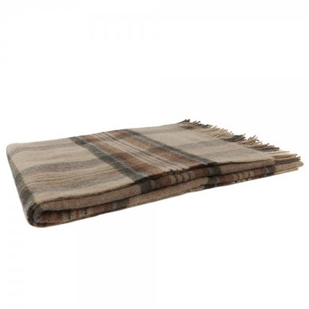 Willow - Large Camel, Grey, Rust & Blue Plaid Throw   - Click to view a larger image