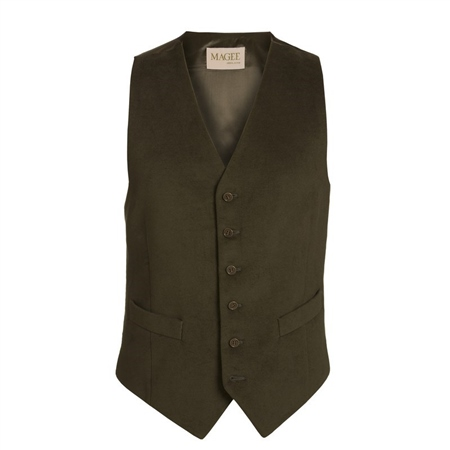 Dark Olive Green Moleskin Waistcoat   - Click to view a larger image