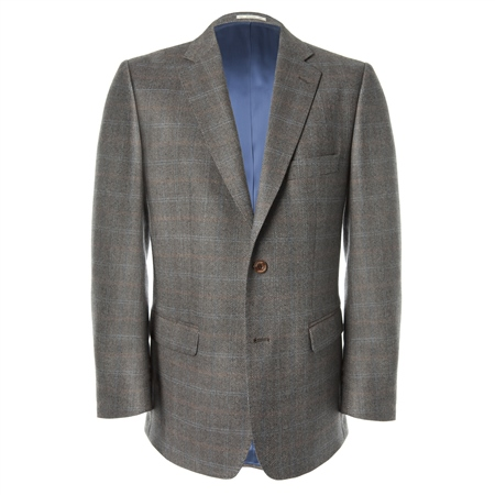 Brown Check Lightweight Wool Jacket   - Click to view a larger image