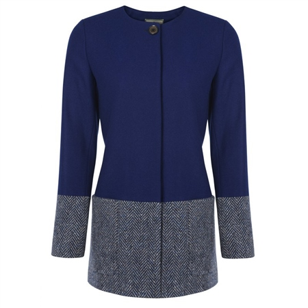 Blue & Grey Donegal Tweed Panel Collarless Coat  - Click to view a larger image