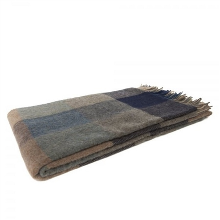 Willow - Large Grey, Blue & Cream Patchwork Throw    - Click to view a larger image