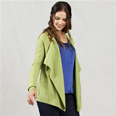 Lime Merino Waterfall Cardigan  - Click to view a larger image