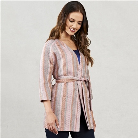 Pink Jacquard Donegal Linen Kimono Style Coat   - Click to view a larger image