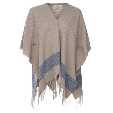 Camel & Blue Donegal Tweed Eske Cape  - Click to view a larger image