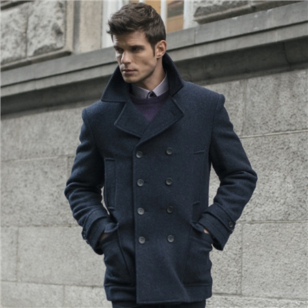 Magee 1866 - Navy Fintra Double Breasted Boucle Tweed Peacoat