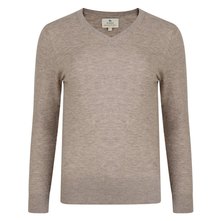 Oat Merino V-Neck Ladies Jumper   - Click to view a larger image