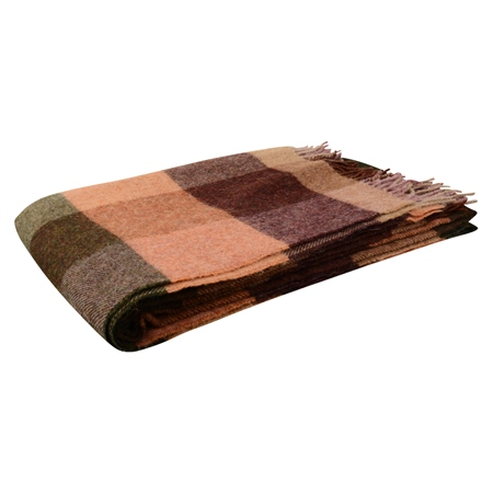 Willow - Large Brown, Salmon, Beige Patchwork Throw  - Click to view a larger image