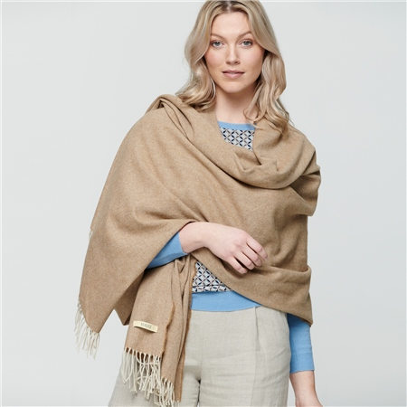 Camel & Cream Luxury Herringbone Pashmina  - Click to view a larger image