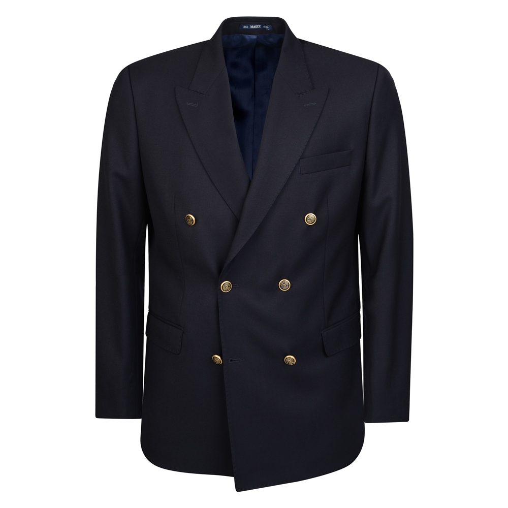 Men's Vintage Style Suits, Classic Suits Magee 1866 Navy Double Breasted Regular Fit Blazer £315.00 AT vintagedancer.com