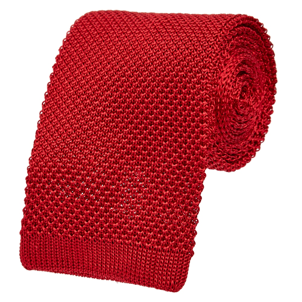 Red Knitted Tie 1