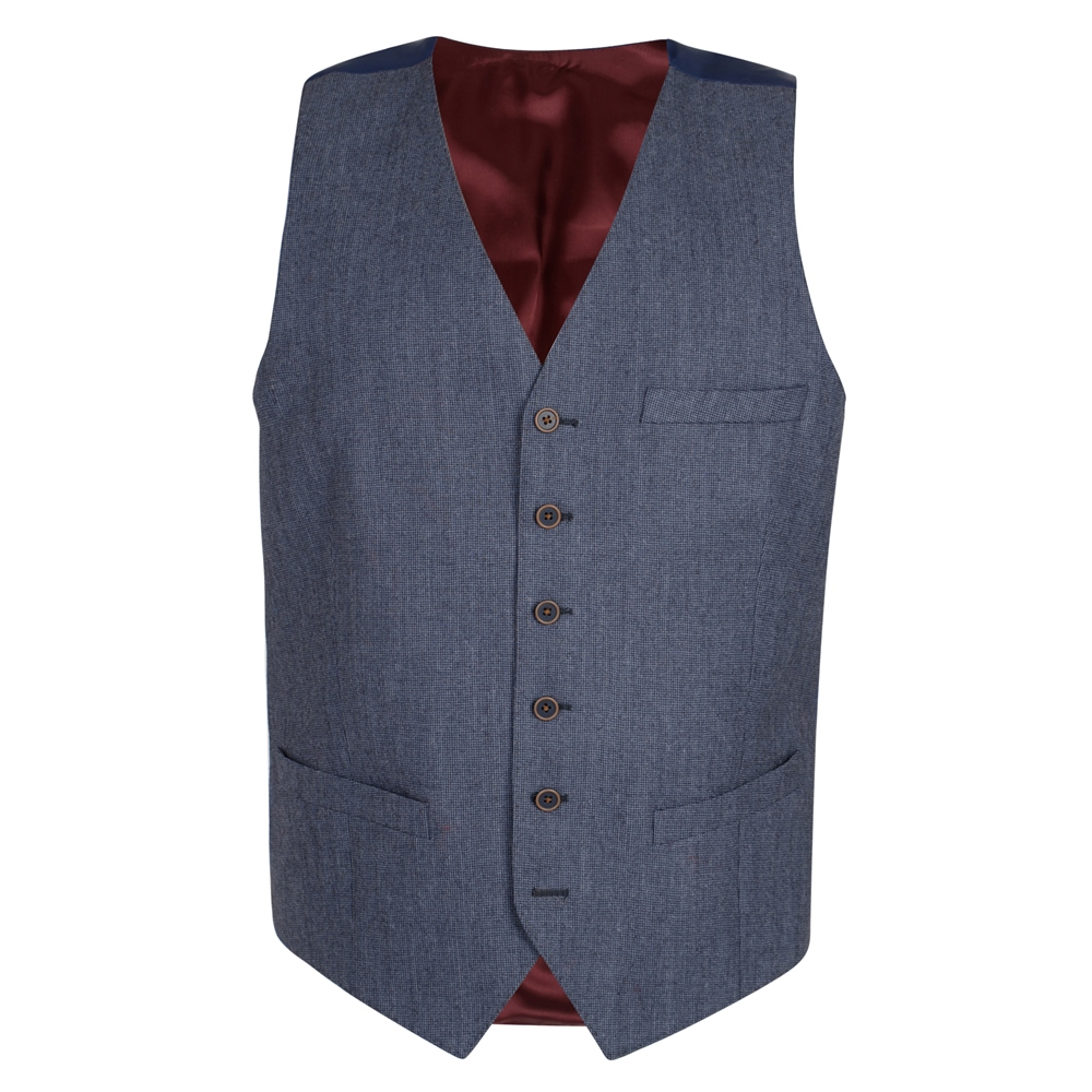 1920s Fashion for Men Magee 1866 Blue Mix  Match 3 Piece Classic Fit Waistcoat £105.00 AT vintagedancer.com