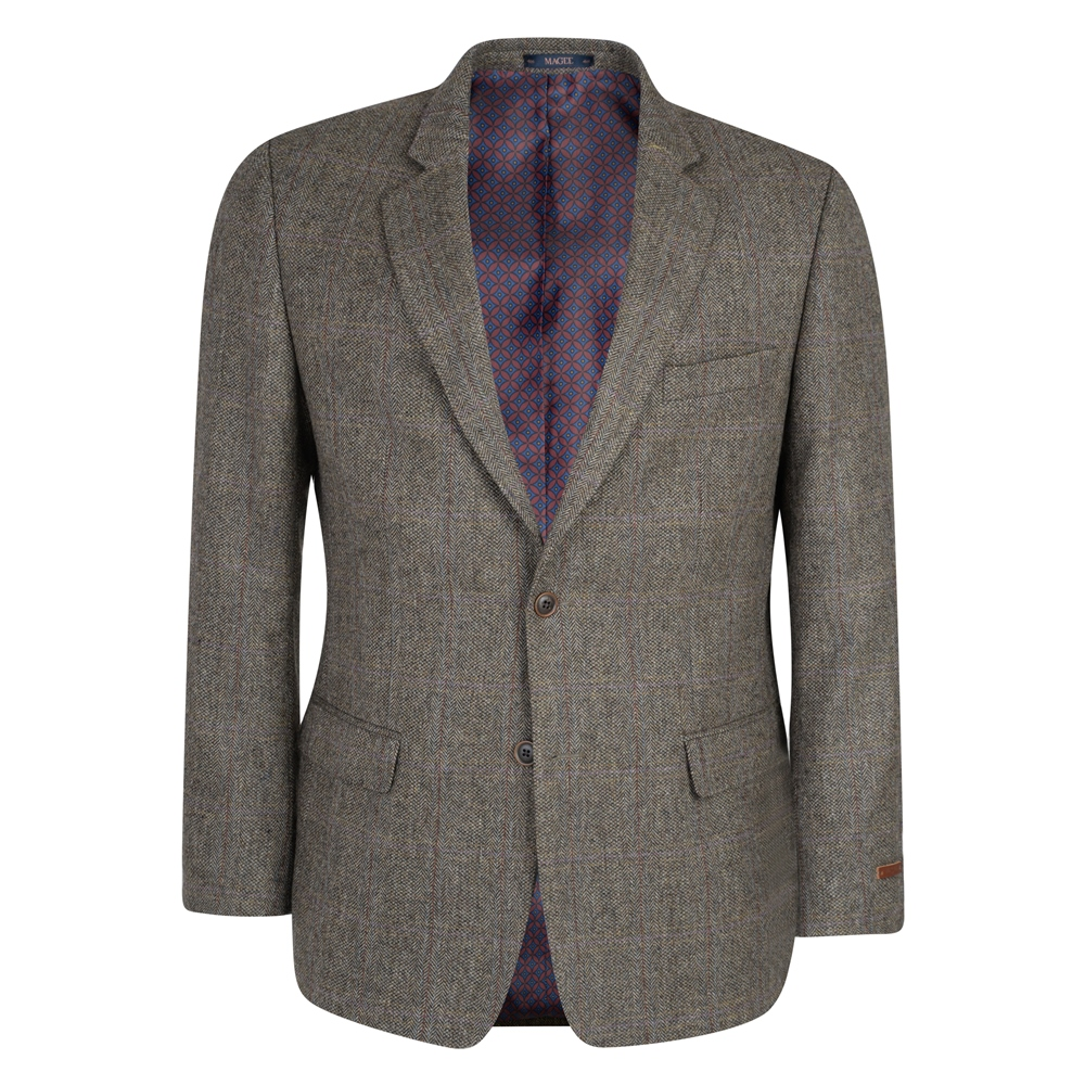 Brown Draft Weave Overcheck Donegal Tweed Classic Fit Jacket - Click to  view a larger image