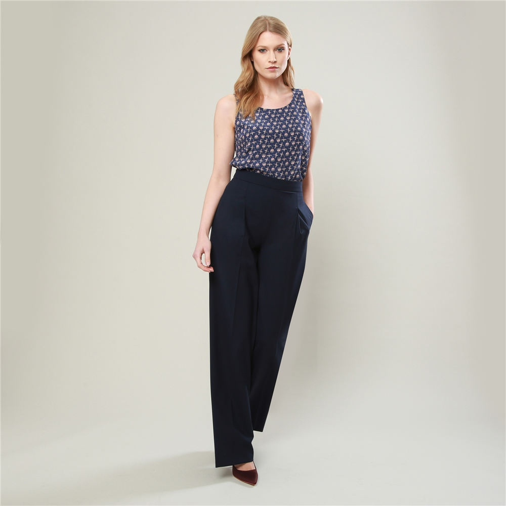32aa91ea07553a Navy Willow Wide Leg Trousers | Seasonal collections from Magee1866