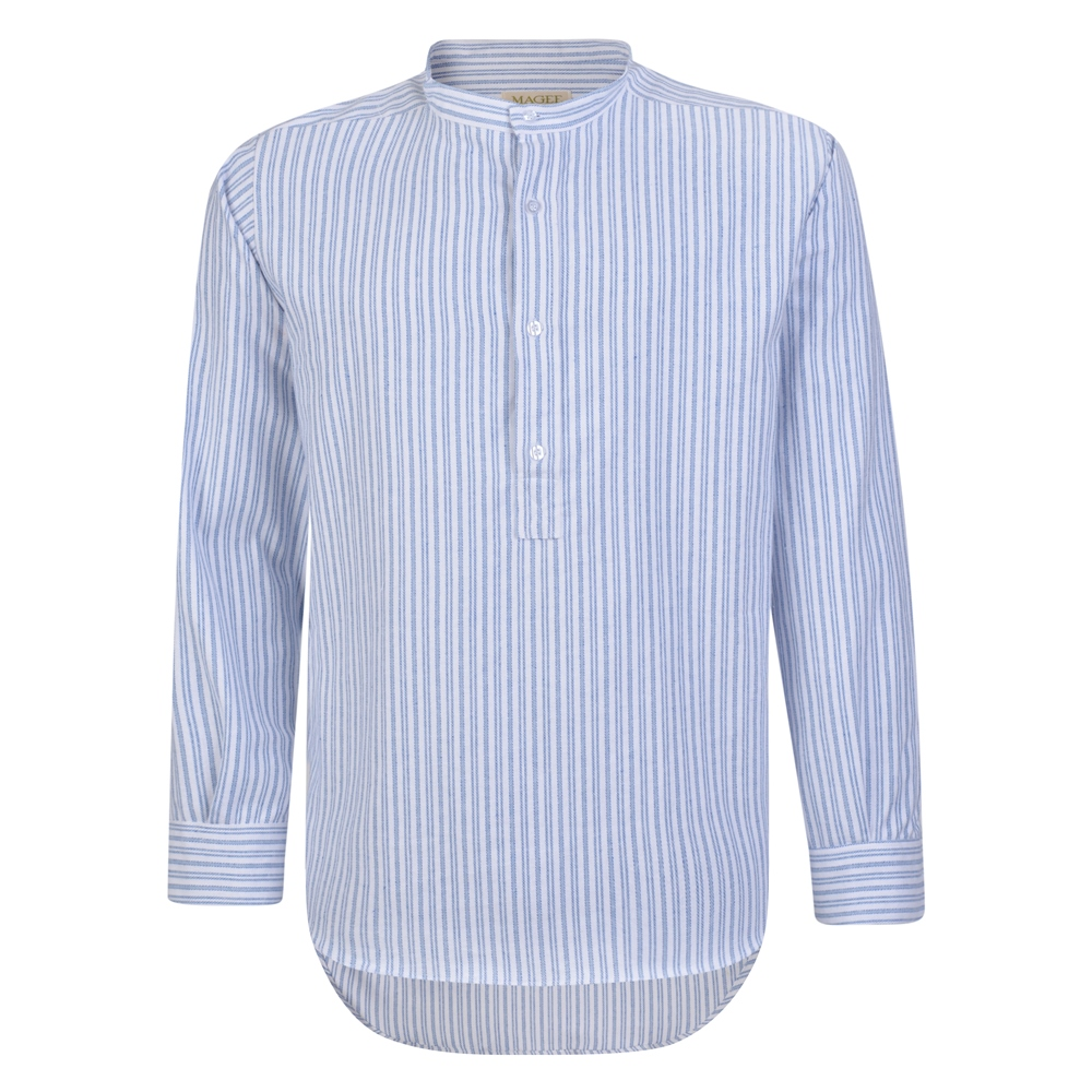 Downton Abbey Men's Fashion Guide Magee 1866 Blue  White Striped Irish Cotton Grandfather Shirt �52.68 AT vintagedancer.com