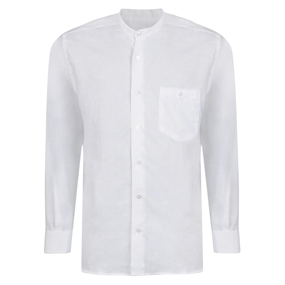Magee 1866 White Irish Linen Grandfather Shirt