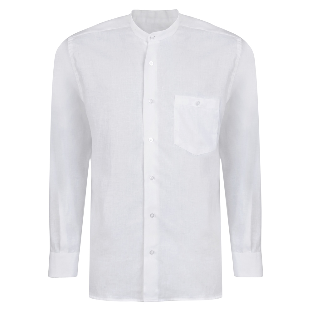 1920s Men's Fashion UK | Peaky Blinders Clothing Magee 1866 White Irish Linen Grandfather Shirt £118.54 AT vintagedancer.com