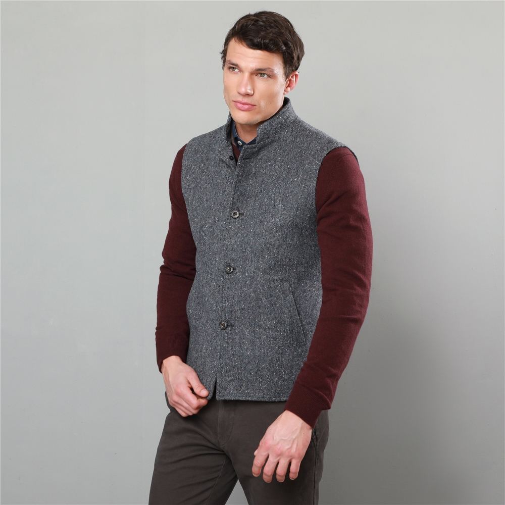 affordable price high quality details for Grey Cavan Donegal Tweed Tailored Fit Gilet - XL