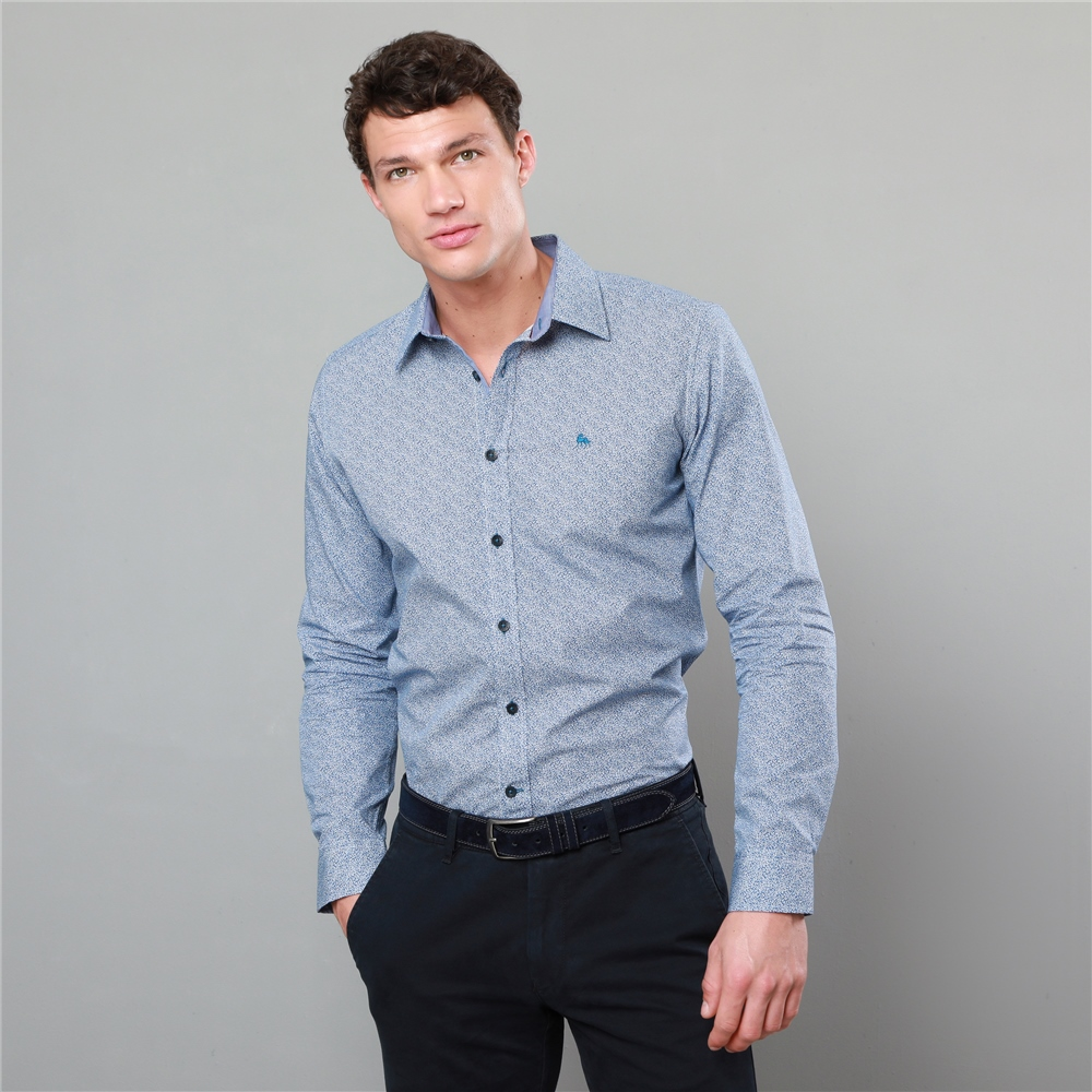 Blue Dunaff Print Tailored Fit Shirt Seasonal Collections From