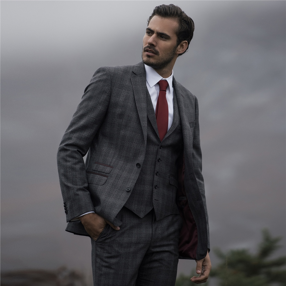 f147c155217a5 Charcoal & Burgundy Glencheck 3-Piece Tailored Fit Suit | Seasonal ...