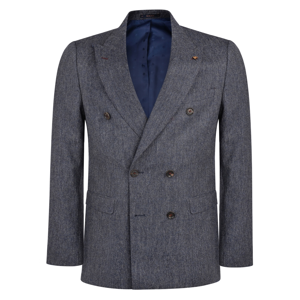 Grey Navy Double Breasted Donegal Tweed 3 Piece Tailored Fit Suit
